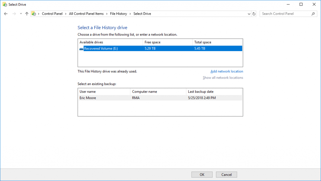 windows 10 file history add drive